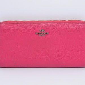 Coach Textured Leather Zip Around Clutch Wallet
